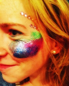 Glitter face.