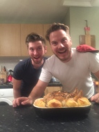 Chris and Ian being cartoon characters who cook a (delicious) Sunday roast